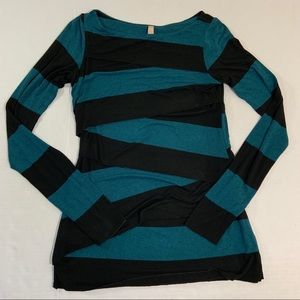 Bailey 44 Layered Stretch Top Long Sleeve Stripe L